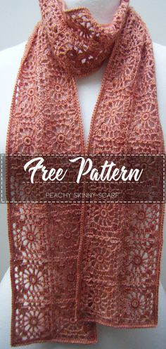 Peachy Skinny Scarf – Free Pattern - Crochet Clothing and Accessories Crochet Scarves, Crochet Shawl, Crochet Clothes, Crochet Stitches, Crochet Patterns, Crochet Gratis, Diy Crochet, Skinny Scarves, Crochet Accessories