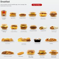 The McDonald's breakfast Picture Menu Mcdonalds Breakfast, Breakfast Menu, Breakfast Recipes, Oatmeal And Eggs, Oatmeal With Fruit, Best Fast Food, Fast Food Menu, Sausage Biscuits, Cheese Biscuits