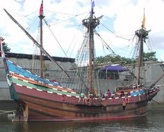 "This is a replica of the ship ""The Half Moon"" that Henry Hudson used on his…"