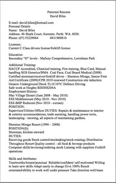storeman resume examples personal resume david biles e mail davidbileshotmailcom personal details name david biles address 4b shark court sorrento - Sample Resume Warehouse Storeperson