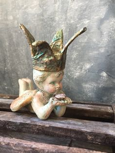 Crowned Angel Statue: Cherub Statue With Crown, Vintage Shabby Angel With Papier Mache Crown, French County Decor, Cottage Chic Decor by Untried on Etsy