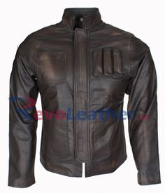 HAN SOLO STAR WARS THE FORCE AWAKENS MENS ANTIQUE BROWN LEATHER JACKET CELEBRITY