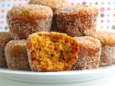 Baked Apple Cider Donut Holes - I made these for a brunch today and they were a HUGE hit. I made full donuts and donut holes. Köstliche Desserts, Delicious Desserts, Dessert Recipes, Yummy Food, Plated Desserts, Cupcakes, Cupcake Cakes, Apple Recipes, Fall Recipes
