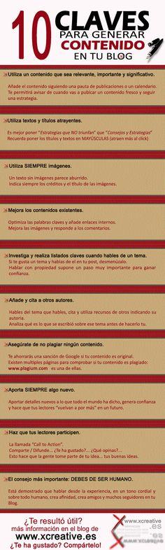 10 claves para generar contenido para tu blog #infografia