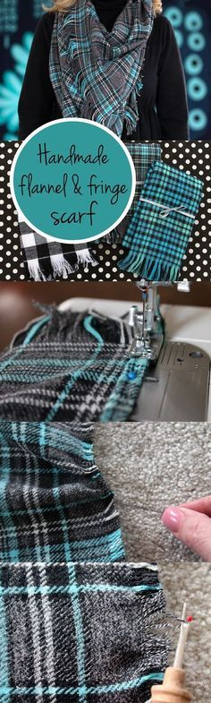 Perfect handmade gift for the holidays! DIY a flannel and fringe scarf that any girl would love to wear.