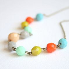 Breezy Summer Beaded Necklace by NestPrettyThingsShop on Etsy  her entire shop is breathtaking.