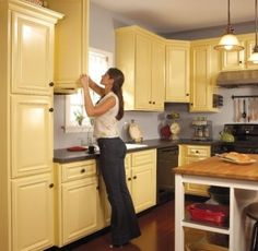 The Ways Painting Kitchen Cabinets:Yellow Painting Kitchen Cabinets  Popular Painting Kitchen Cabinets by lissandra.villano