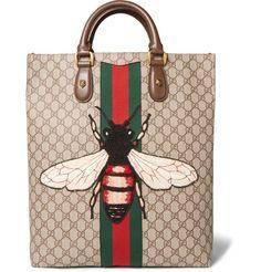 Web Animalier GG Supreme Leather-Trimmed Coated-Canvas Tote Bag   MR PORTER