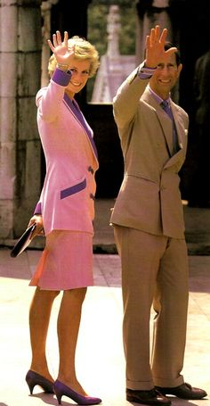 Charles and Diana- a rare picture where they seem to be happy and in sinc with each other.