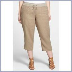 Today Recommend - Eileen Fisher Organic Linen Capri Pants (Plus Size) Drift Wood 3X