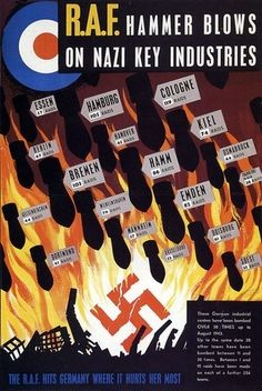 R.A.F. Hammer Blows On Nazi Key Industries ♦ WWII poster