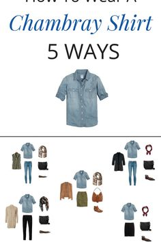 How To Wear a Chambray Shirt 5 Ways (Fall Season) with a pencil skirt faux suede jacket and olive skirt black blazer and skinny jeans cardigan and black jeans and an olive utility vest. - Denim Shirt Dress - Ideas of Denim Shirt Dress Chambray Shirt Outfits, Denim Shirt, Casual Outfits, Jean Shirt Outfits, Fall Outfits, Fashion Mode, Look Fashion, Autumn Fashion, Black Jeans Summer