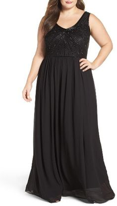 Plus Size Women's Adrianna Papell Beaded Bodice Chiffon Gown