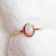 Opal Enagegement Ring 18k Rose Gold Opal Engagement Ring 14k