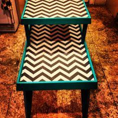 Fabric and Epoxy Resin Furniture Chevron #DIY