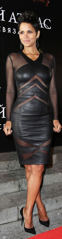 Halle Barry in black leather
