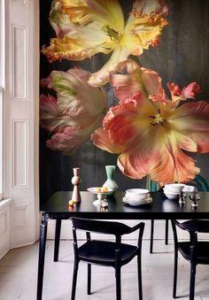 papel de parede flores 3d