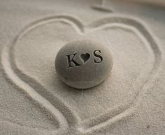 Personalized gift for him or her  i heart u beach by SJEngraving #lovestone #pebble