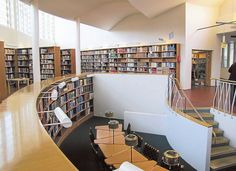 Effective privacy. Triangular tables of Seinäjoki Main Library, Finland. Library and tables designed by architect Alvar Aalto, 1965.