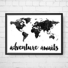 Adventure Awaits Map, Travel quote, World Map, Watercolor Map, Map Poster…