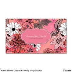 mixed flower garden business card this original floral graphic has a beautiful mixture of - Girly Business Cards