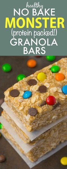 Healthy NO BAKE Monster Cookie Protein Bars- Quick and easy snack bars which are. Healthy NO BAKE Monster Cookie Protein Bars- Quick and easy snack bars which are extra chewy and SO satisfying- . Healthy Protein Snacks, Healthy Snacks For Kids, Healthy Treats, Healthy Baking, Quick And Easy Snacks, Easy Protein Bars, Healthy Recipes, Healthy Shakes, Protein Foods For Kids