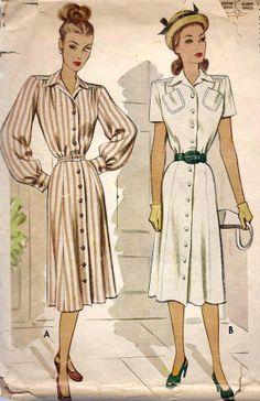 1940s Misses Shirt Dress Vintage