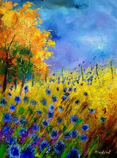 Saatchi Online Artist: Pol Ledent; Oil, 2011, Painting Cornflowers and orange tree