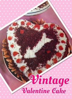 Valentine's Day is fast approaching, and today I'm featuring this pretty no-bake cake from a very delicious vintage recipe book: Cadb. Valentine Cake, Vintage Valentines, Broccoli Cheese Soup, Vintage Recipes, No Bake Cake, Vintage Kitchen, Cake Recipes, Recipe Books, Snacks