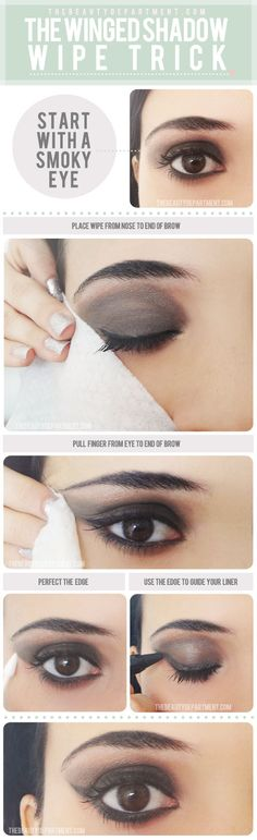 New and clever eye makeup tutorials. Try the Winged Shadow/Eyeliner Makeup Wipe Trick! Start with a eyeshadow, and progress to this fabulous look just by wiping a certain way. Check it out! Eyeshadow Tutorial For Beginners, Eyeliner Tutorial, Eyeshadow Tutorials, Makeup Tutorials, All Things Beauty, Beauty Make Up, Hair Beauty, Real Beauty, The Beauty Department