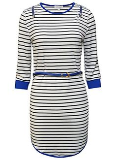 MonsterCloset Round Neck Striped Dress w Belt WhiteRoyal Blue Small -- You can get additional details at the image link.
