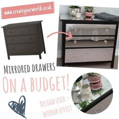 """Create Your World Ltd on Instagram: """"#mirroredfurniture is expensive but here's how to get the same look on a budget, using our thick mirror effect vinyl, perfects for drawer…"""" Ikea Furniture Hacks, Mirror Effect, Mirrored Furniture, Home Bedroom, Budgeting, That Look, Create Yourself, Drawers, Instagram"""