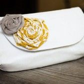White clutch purse with yellow and gray flowers (by Brighter Day)  via Emmaline Bride® - The Marketplace