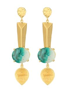 Turquoise & Golden Hanging Earrings #Ekatrra #Gold #Earring #Fashionable #Partywear #Accessories #Jewellery #Gift #Trendy #Womenshopping #onlineShopping #Stylish #Women #Stud Shop Now: http://bit.ly/1IU4QTR