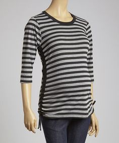 This Three Seasons Maternity Charcoal Stripe Side-Tie Maternity Top by Three Seasons Maternity is perfect! #zulilyfinds