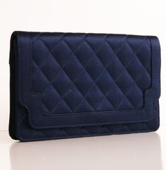 Chanel Navy Satin Quilted Clutch