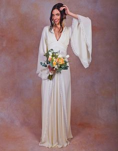 CELINE PURE SILK BOHEMIAN WEDDING DRESS  TRY BEFORE YOU BUY: This service is…