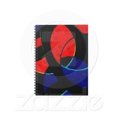 Abstract Curves Notebook de Zazzle.com    curves , red , blue , black , abstract , circles , modern , arc , oval , dark