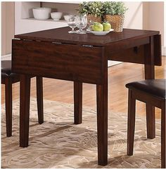 Dakota Square Drop Leaf Table - The dark finish gives this Dakota Table a contemporary feel yet the simplicity of this collection will make anyone feel comfortable. Dining Table In Kitchen, Dining Table Chairs, Side Chairs, Dining Set, Small Room Furniture, New Furniture, Drop Leaf Table, Quality Furniture, Wood Veneer