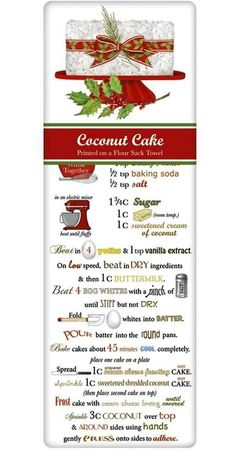 Fancy Christmas Coconut Cake Recipe 100% Cotton Flour Sack Dish Towel Tea Towel