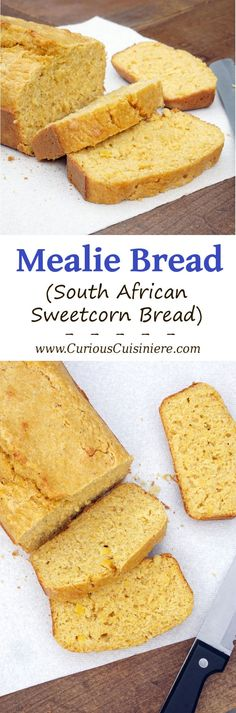 Kernels of sweet corn stud this sweet and flavorful Mealie Bread, a South African sweetcorn bread that is sure to delight any cornbread fan.Yield: 1 loaf of delicious cornbread Cocoa Recipes, Coffee Recipes, Dessert Recipes, Desserts, South African Dishes, South African Recipes, Africa Recipes, Ethnic Recipes, Ma Baker