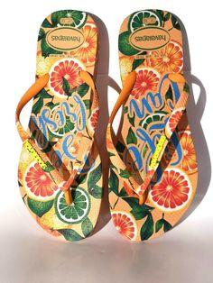 f34ff0118 2019 Made In Brazil Women Havaianas Slim Tropical Sandals Fruit Orange NWOT  #Havaianas #FlipFlops