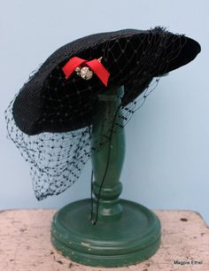 Vintage Black Hat with Pearl  Carson Pirie Scott  by EisforEthel, $18.00