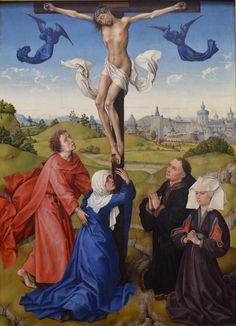 Crucifixion Triptych: central panel by Rogier van der Weyden Hieronymus Bosch, Religious Paintings, Religious Art, Renaissance Paintings, Renaissance Art, Robert Campin, Jan Van Eyck, Chef D Oeuvre, Mystique
