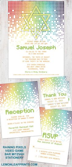 Raining digital computer pixels video game (gamer, gaming) Bar Mitzvah invitation stationery set. Features a Jewish Star of David and binary code. Colors are mostly orange and green with rainbow pixels. Great for a gamer or video game enthusiast. Shop for then here on Lemon Leaf Prints: lemonleafprints.c... #barmitzvah #invitations #barmitzvahinvitations #unique #non-traditional #jewish