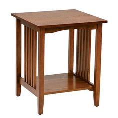 Wood Side Table Oak Finish End Furniture Vintage Bedroom Night Stand Brown Shelf #WoodSideTable #VintageRusticCountry