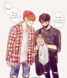 Cartoon Fan, First Art, Kpop, Taekook, Chibi, Anime, Fan Art, Drawings, Boys
