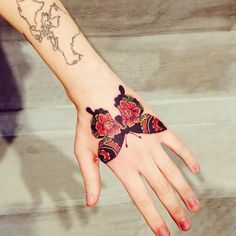 Colorful Butterfly And World Map Tattoo On Girl Sleeve