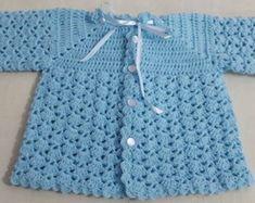 Newborn Baby Set Yellow Baby Coat And Bo - Diy Crafts - knittingo Crochet Baby Sweater Pattern, Crochet Baby Sweaters, Baby Sweater Patterns, Crochet Coat, Baby Girl Crochet, Crochet Baby Clothes, Crochet Cardigan, Crochet Bebe, Crochet Pattern