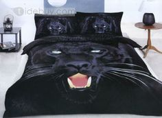 4 Piece Black Panther Print Bedding Sets Full Queen Size : Tidebuy.com